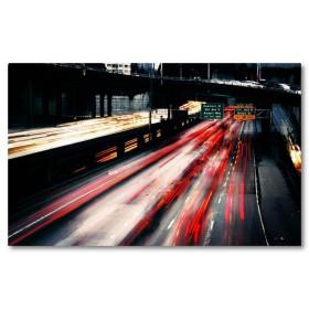 Αφίσα (πόλη, νύχτα, φώτα αυτοκινήτων, μαύρο, λευκό, άσπρο)